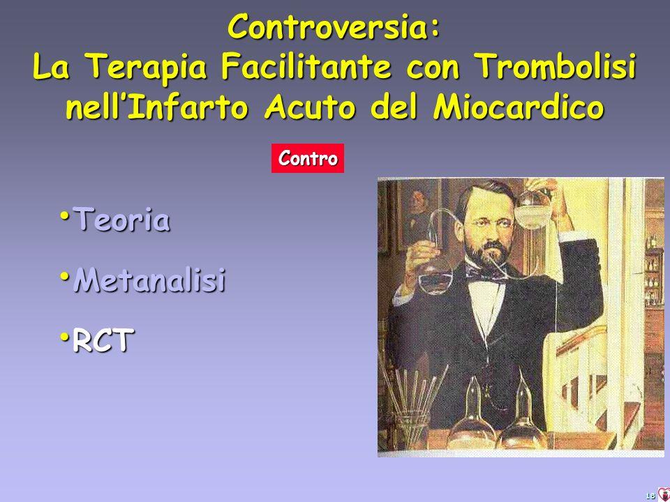 18 Teoria Teoria Metanalisi Metanalisi RCT RCT Controversia: La Terapia Facilitante con Trombolisi nellInfarto Acuto del Miocardico Contro