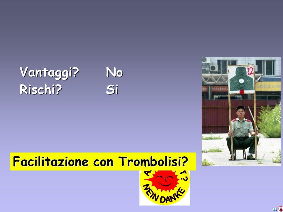 25 Facilitazione con Trombolisi? Vantaggi? No Rischi?Si