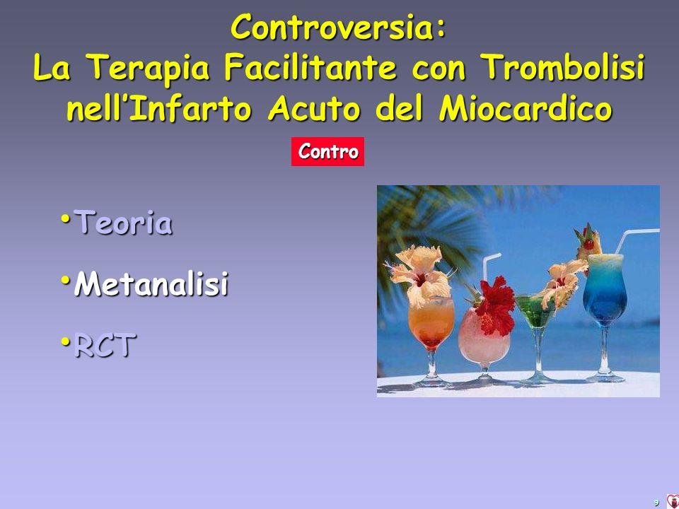 9 Controversia: La Terapia Facilitante con Trombolisi nellInfarto Acuto del Miocardico Contro Teoria Teoria Metanalisi Metanalisi RCT RCT
