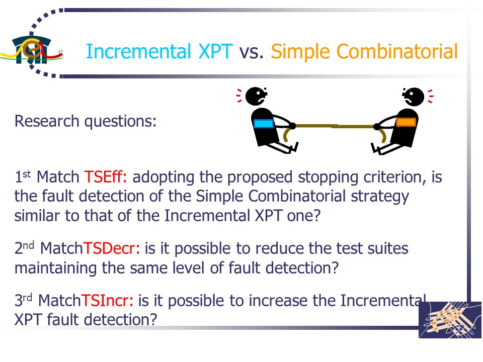 Incremental XPT vs. Simple Combinatorial Research questions: 1 st Match TSEff: adopting the proposed stopping criterion, is the fault detection of the
