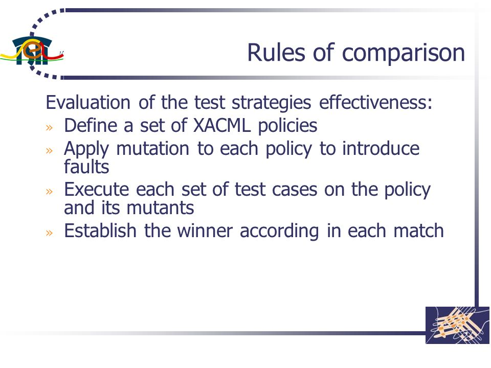Rules of comparison Evaluation of the test strategies effectiveness: » Define a set of XACML policies » Apply mutation to each policy to introduce fau