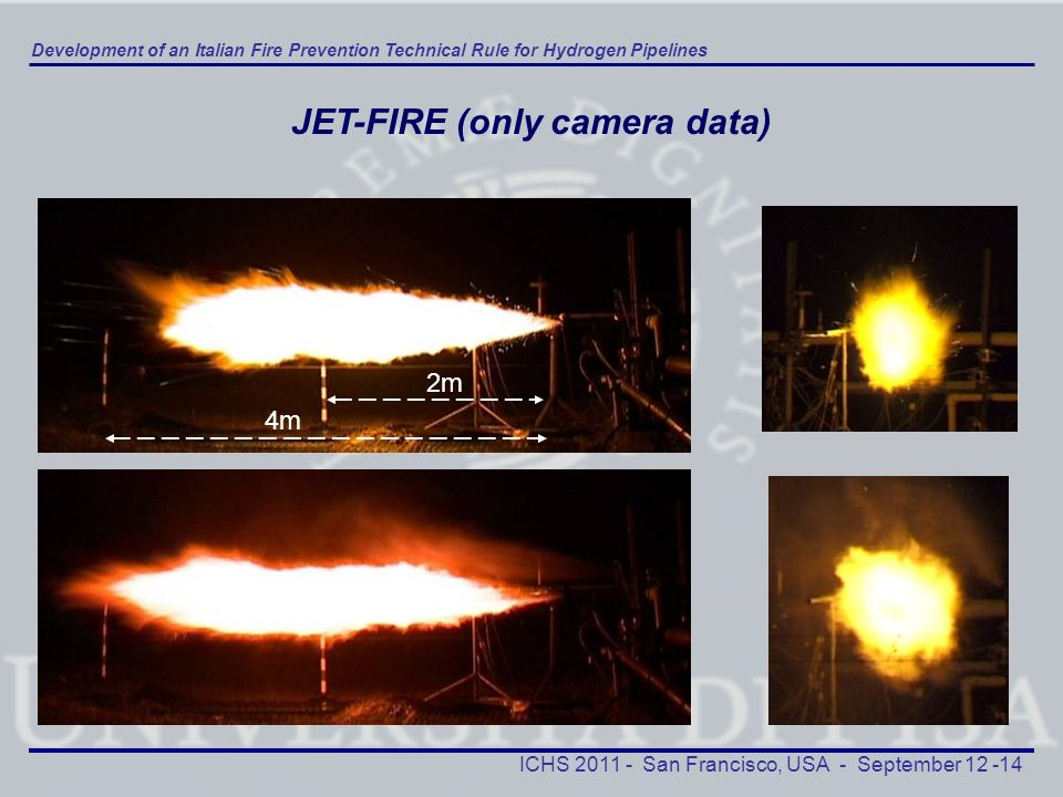 Development of an Italian Fire Prevention Technical Rule for Hydrogen Pipelines ICHS 2011 - San Francisco, USA - September 12 -14 4m 2m JET-FIRE (only