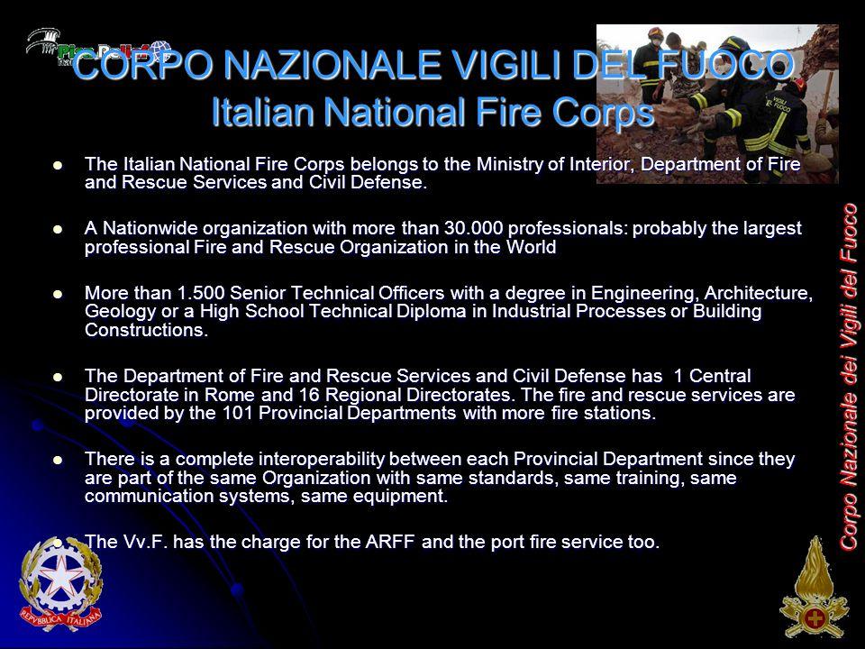 Corpo Nazionale dei Vigili del Fuoco CORPO NAZIONALE VIGILI DEL FUOCO Italian National Fire Corps The Italian National Fire Corps belongs to the Ministry of Interior, Department of Fire and Rescue Services and Civil Defense.