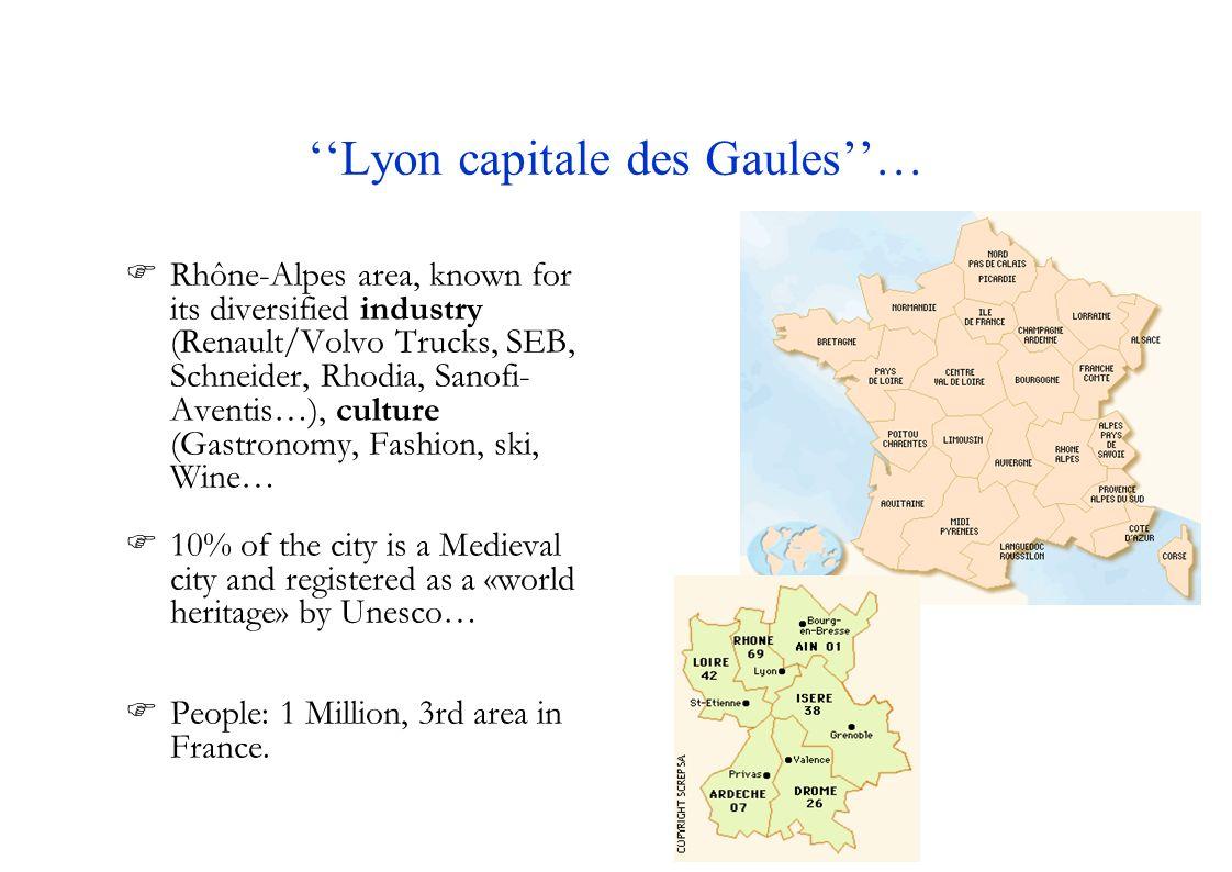 Universities and Schools… Lumière Lyon2 University (28000st) Claude Bernard Lyon1 University (29000st) Jean-Moulin Lyon3 University (21000st) Central School of Lyon – ECL National Inst.