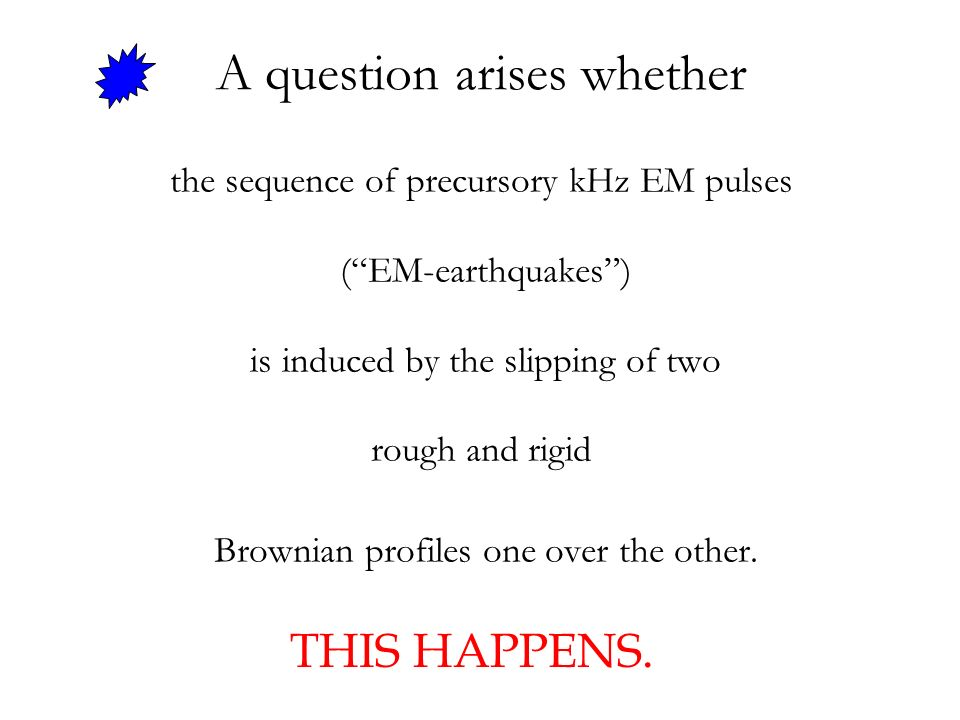 the sequence of precursory kHz EM pulses (EM-earthquakes) is induced by the slipping of two rough and rigid Brownian profiles one over the other. A qu