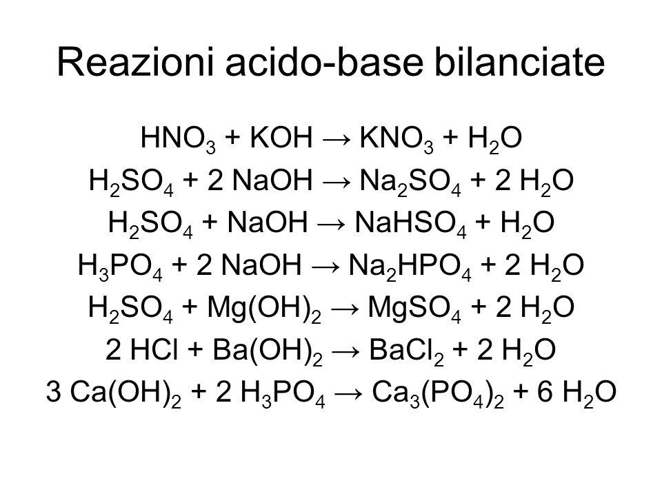 Reazioni acido-base bilanciate HNO 3 + KOH KNO 3 + H 2 O H 2 SO 4 + 2 NaOH Na 2 SO 4 + 2 H 2 O H 2 SO 4 + NaOH NaHSO 4 + H 2 O H 3 PO 4 + 2 NaOH Na 2