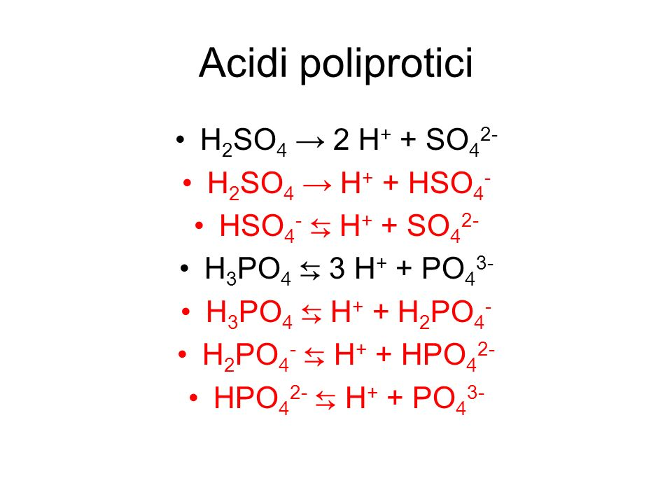 Acidi poliprotici H 2 SO 4 2 H + + SO 4 2- H 2 SO 4 H + + HSO 4 - HSO 4 - H + + SO 4 2- H 3 PO 4 3 H + + PO 4 3- H 3 PO 4 H + + H 2 PO 4 - H 2 PO 4 -