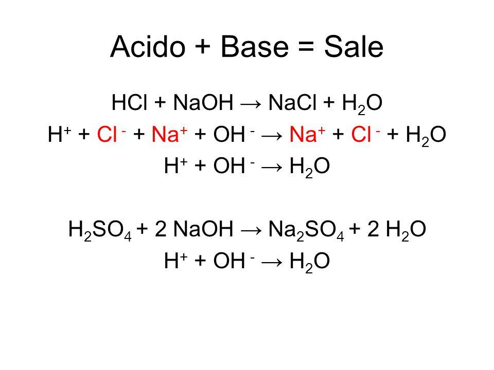 Acido + Base = Sale HCl + NaOH NaCl + H 2 O H + + Cl - + Na + + OH - Na + + Cl - + H 2 O H + + OH - H 2 O H 2 SO 4 + 2 NaOH Na 2 SO 4 + 2 H 2 O H + +