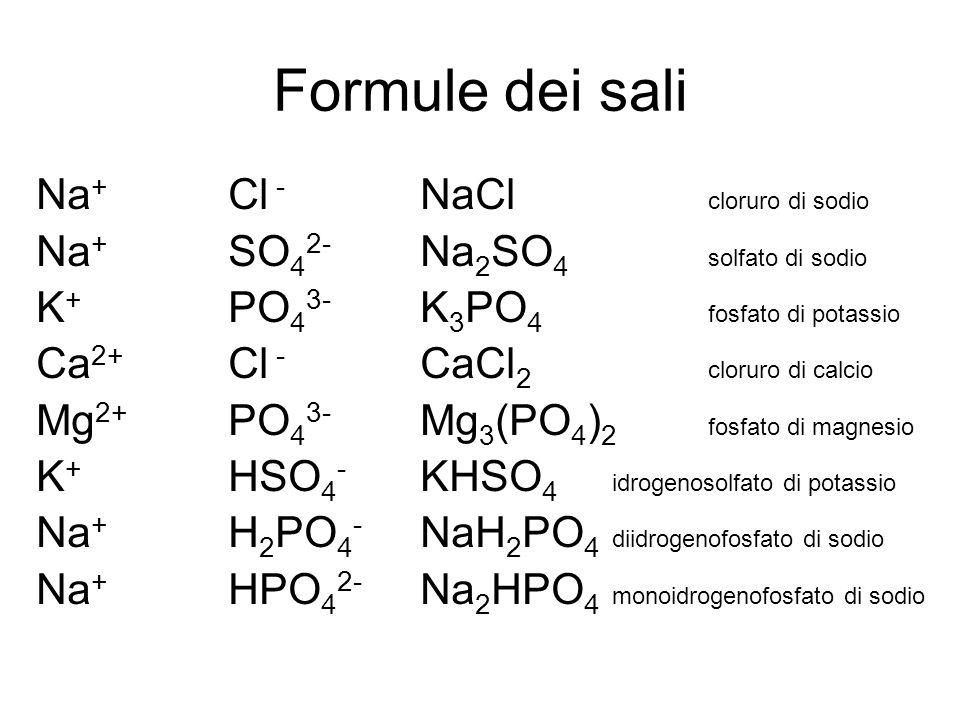 Formule dei sali Na + Cl - NaCl cloruro di sodio Na + SO 4 2- Na 2 SO 4 solfato di sodio K + PO 4 3- K 3 PO 4 fosfato di potassio Ca 2+ Cl - CaCl 2 cl