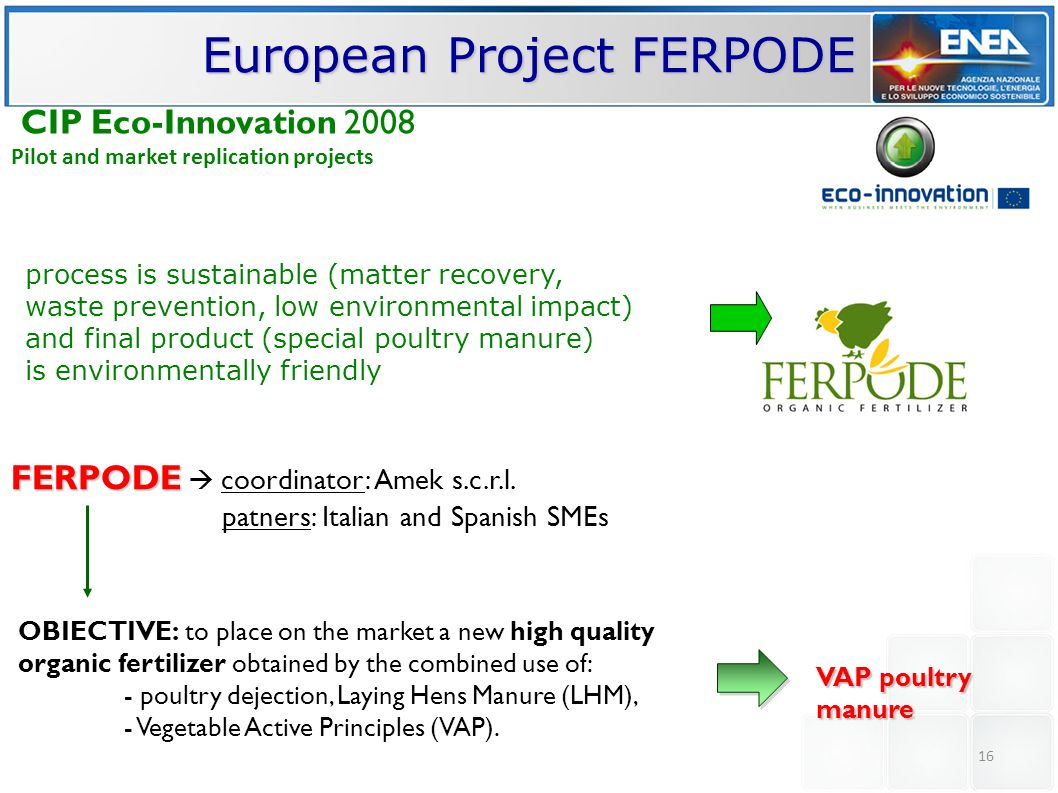16 European Project FERPODE CIP Eco-Innovation 2008 Pilot and market replication projects FERPODE FERPODE coordinator: Amek s.c.r.l. patners: Italian