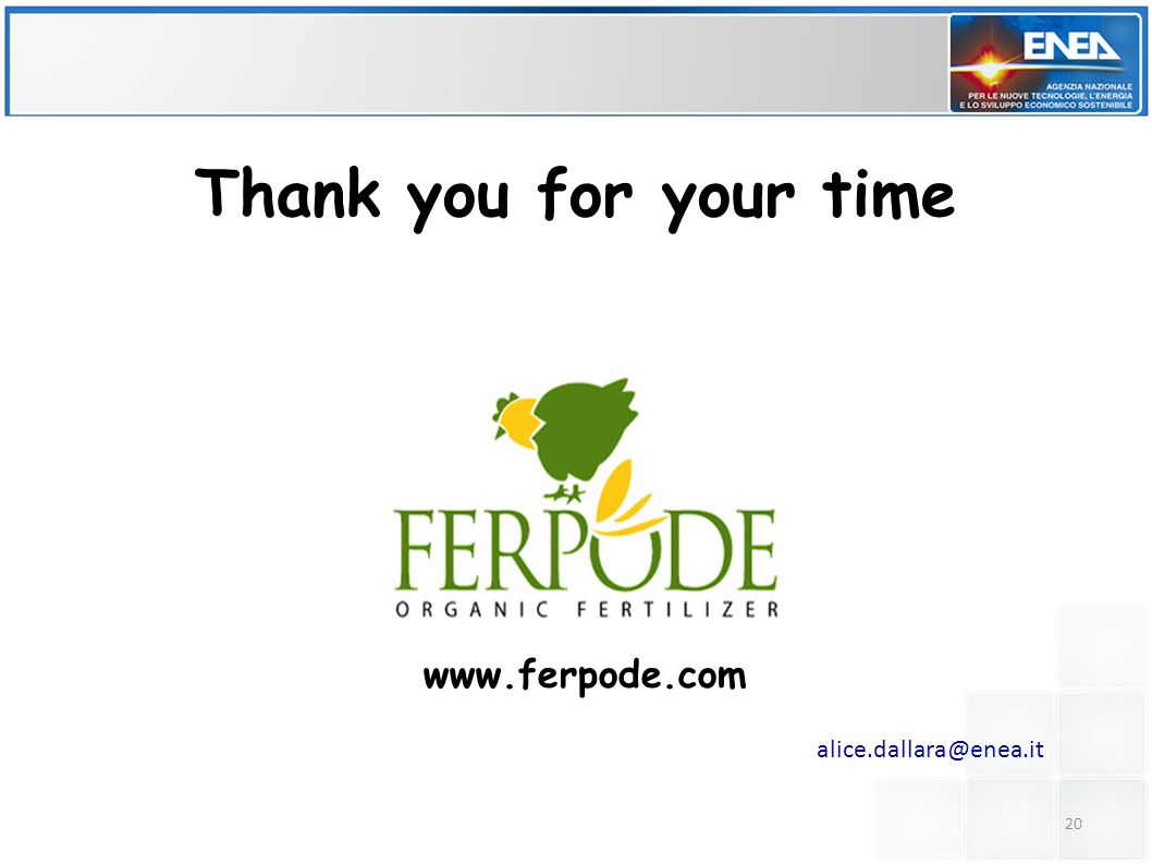 20 Thank you for your time www.ferpode.com alice.dallara@enea.it