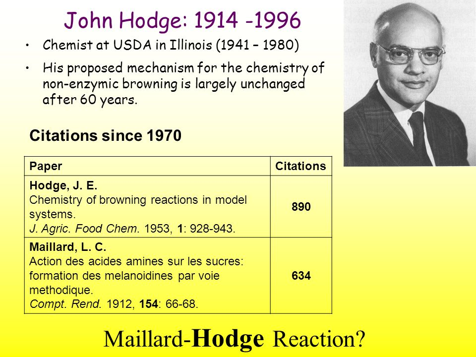 Hodge Scheme Hodge J E.Dehydrated foods: chemistry of browning reactions in model systems.