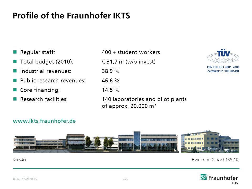 © Fraunhofer IKTS- 1 - The Fraunhofer-Gesellschaft in Germany 60 Institutes more than 18,000 employees Fraunhofer-Headquarters in Munich Fraunhofer-Lo