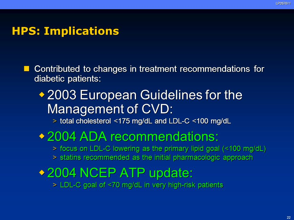 22LP267611 HPS: Implications Contributed to changes in treatment recommendations for diabetic patients: 2003 European Guidelines for the Management of