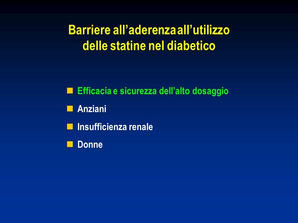 Barriere alladerenza allutilizzo delle statine nel diabetico Efficacia e sicurezza dellalto dosaggio Anziani Insufficienza renale Donne