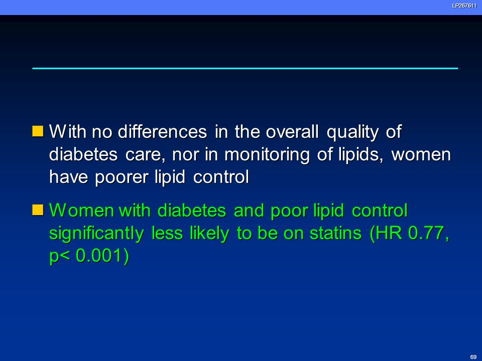 69LP267611 With no differences in the overall quality of diabetes care, nor in monitoring of lipids, women have poorer lipid control Women with diabet