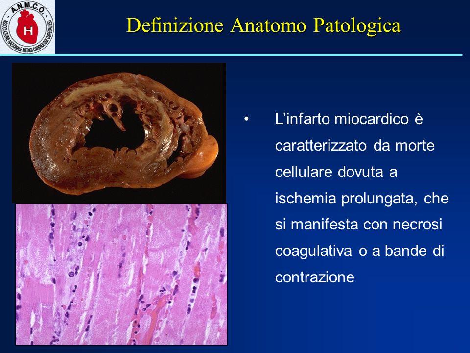 Definizione Anatomo Patologica Linfarto miocardico è caratterizzato da morte cellulare dovuta a ischemia prolungata, che si manifesta con necrosi coagulativa o a bande di contrazione