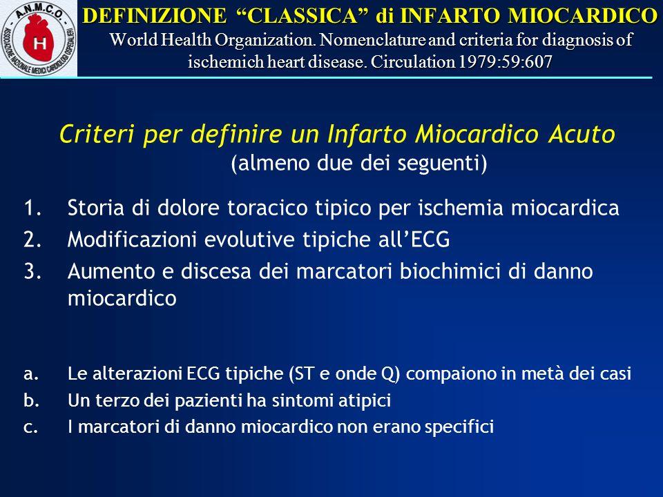DEFINIZIONE CLASSICA di INFARTO MIOCARDICO World Health Organization. Nomenclature and criteria for diagnosis of ischemich heart disease. Circulation