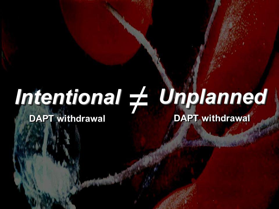 Intentional DAPT withdrawalIntentional Unplanned Unplanned