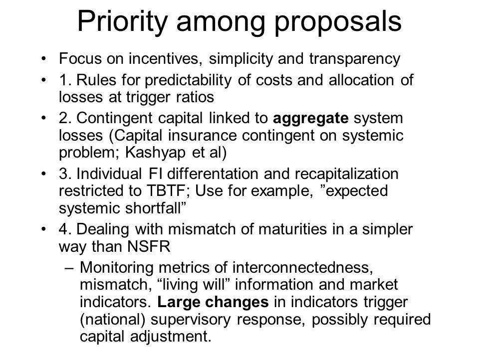 Priority among proposals Focus on incentives, simplicity and transparency 1. Rules for predictability of costs and allocation of losses at trigger rat