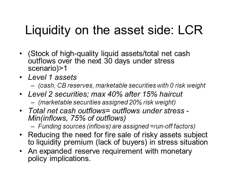 Liquidity on the asset side: LCR (Stock of high-quality liquid assets/total net cash outflows over the next 30 days under stress scenario)>1 Level 1 a
