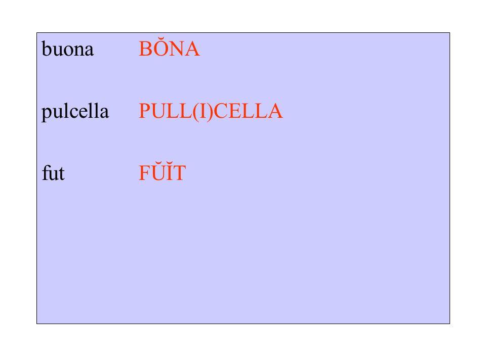 buona BŎNA pulcella PULL(I)CELLA fut FŬĬT