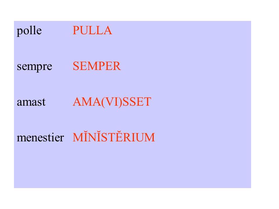pollePULLA sempreSEMPER amastAMA(VI)SSET menestierMĬNĬSTĔRIUM