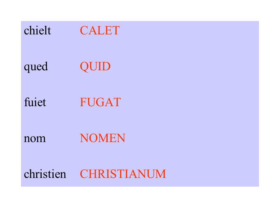chieltCALET quedQUID fuietFUGAT nomNOMEN christienCHRISTIANUM