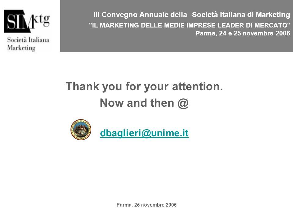 Parma, 25 novembre 2006 III Convegno Annuale della Società Italiana di Marketing IL MARKETING DELLE MEDIE IMPRESE LEADER DI MERCATO Parma, 24 e 25 novembre 2006 Thank you for your attention.