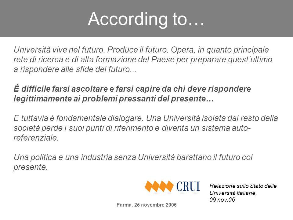 Parma, 25 novembre 2006 According to… Università vive nel futuro. Produce il futuro. Opera, in quanto principale rete di ricerca e di alta formazione