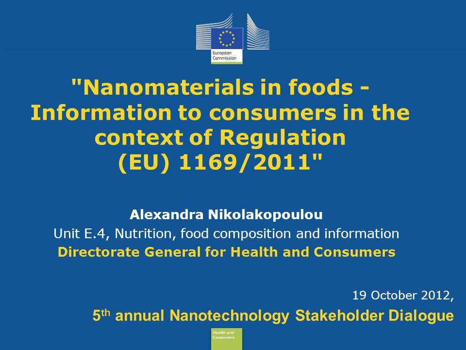 Health and Consumers Health and Consumers Health and Consumers Health and Consumers