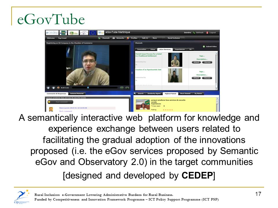 eGovTube A semantically interactive web platform for knowledge and experience exchange between users related to facilitating the gradual adoption of t
