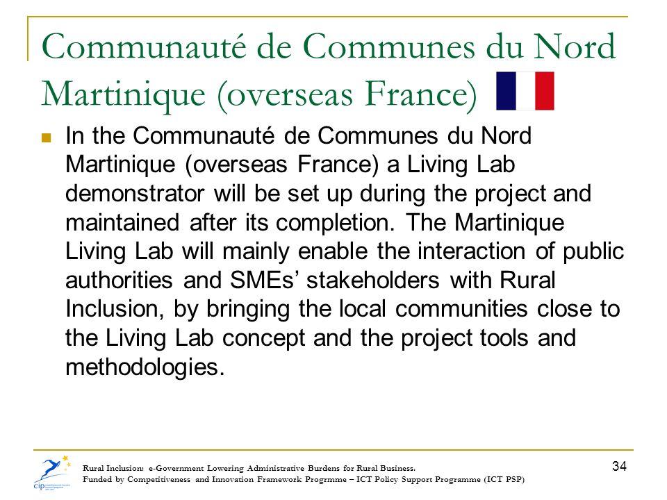 Communauté de Communes du Nord Martinique (overseas France) In the Communauté de Communes du Nord Martinique (overseas France) a Living Lab demonstrat