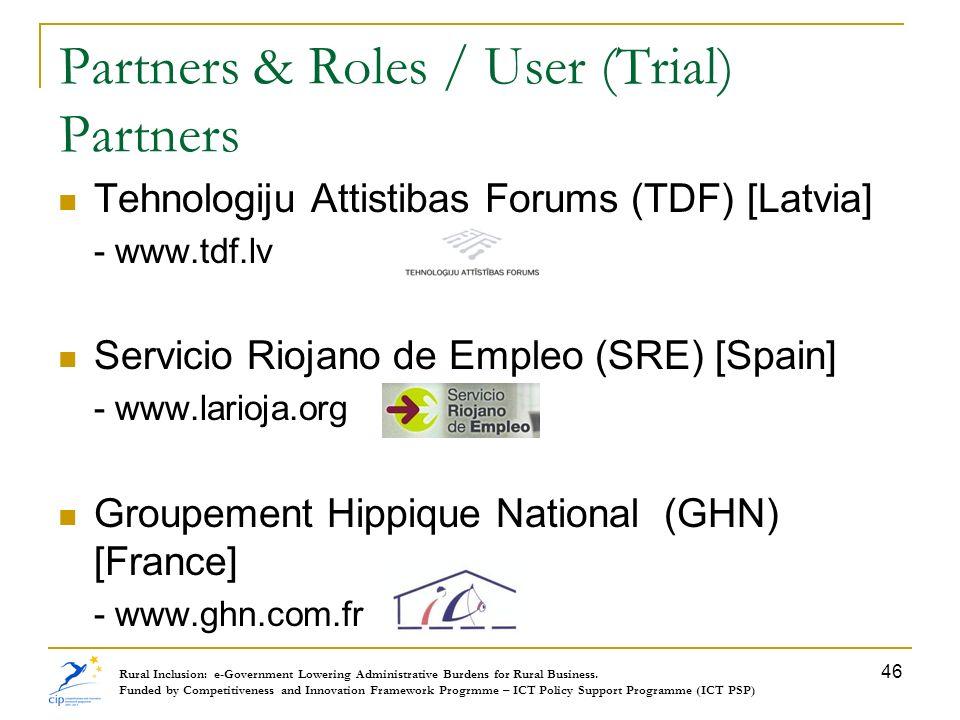 Partners & Roles / User (Trial) Partners Tehnologiju Attistibas Forums (TDF) [Latvia] - www.tdf.lv Servicio Riojano de Empleo (SRE) [Spain] - www.lari