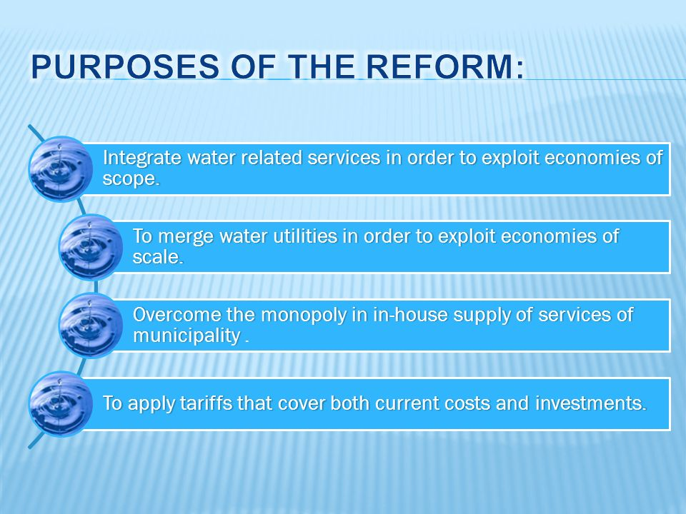 Integrate water related services in order to exploit economies of scope.