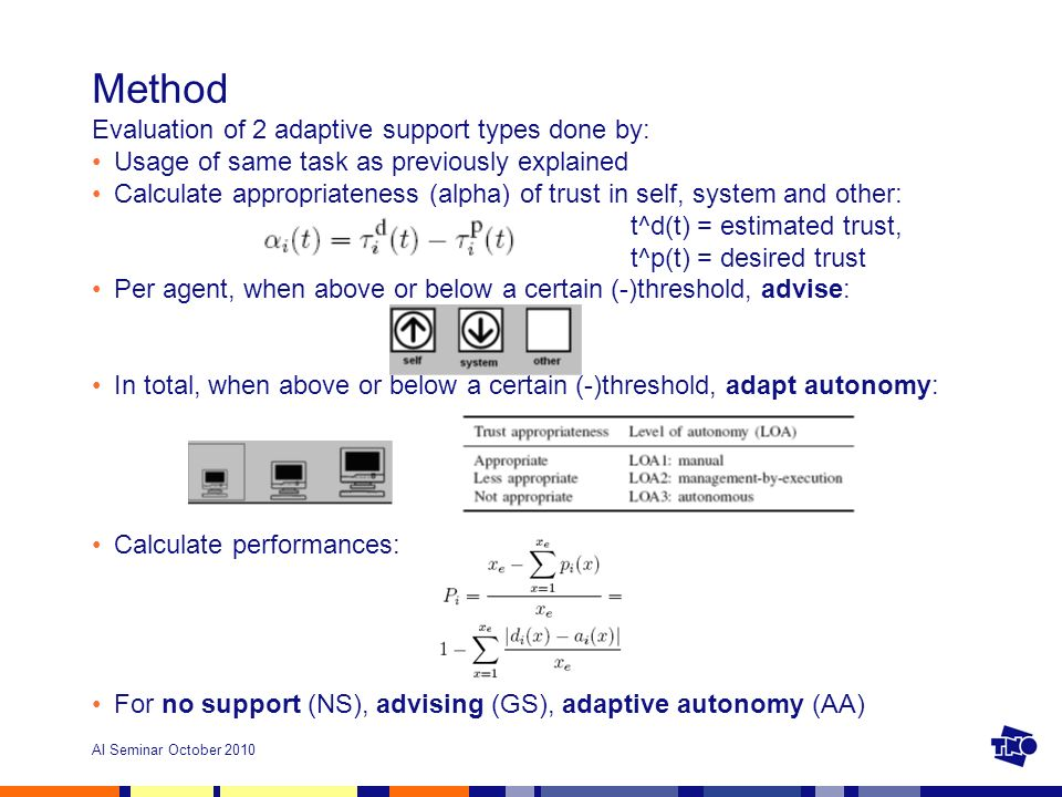 AI Seminar October 2010 Method Evaluation of 2 adaptive support types done by: Usage of same task as previously explained Calculate appropriateness (alpha) of trust in self, system and other: t^d(t) = estimated trust, t^p(t) = desired trust Per agent, when above or below a certain (-)threshold, advise: In total, when above or below a certain (-)threshold, adapt autonomy: Calculate performances: For no support (NS), advising (GS), adaptive autonomy (AA)