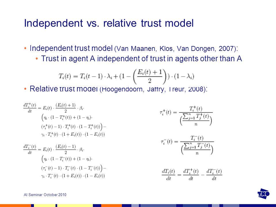 AI Seminar October 2010 Independent vs. relative trust model Independent trust model (Van Maanen, Klos, Van Dongen, 2007) : Trust in agent A independe