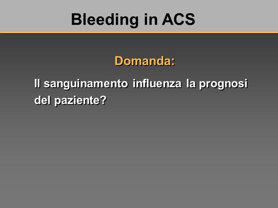 Il sanguinamento influenza la prognosi del paziente Bleeding in ACS Domanda: