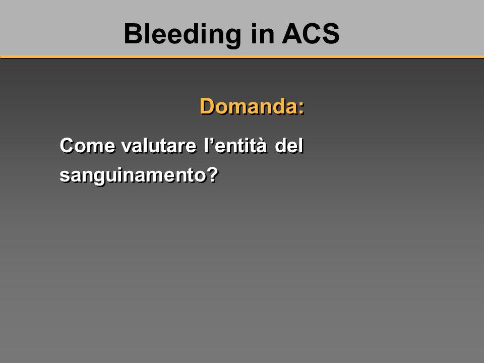 Come valutare lentità del sanguinamento Bleeding in ACS Domanda: