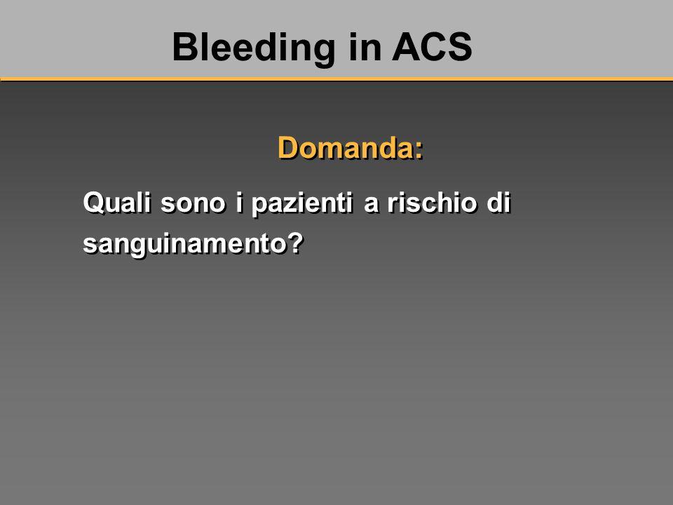 Quali sono i pazienti a rischio di sanguinamento Bleeding in ACS Domanda: