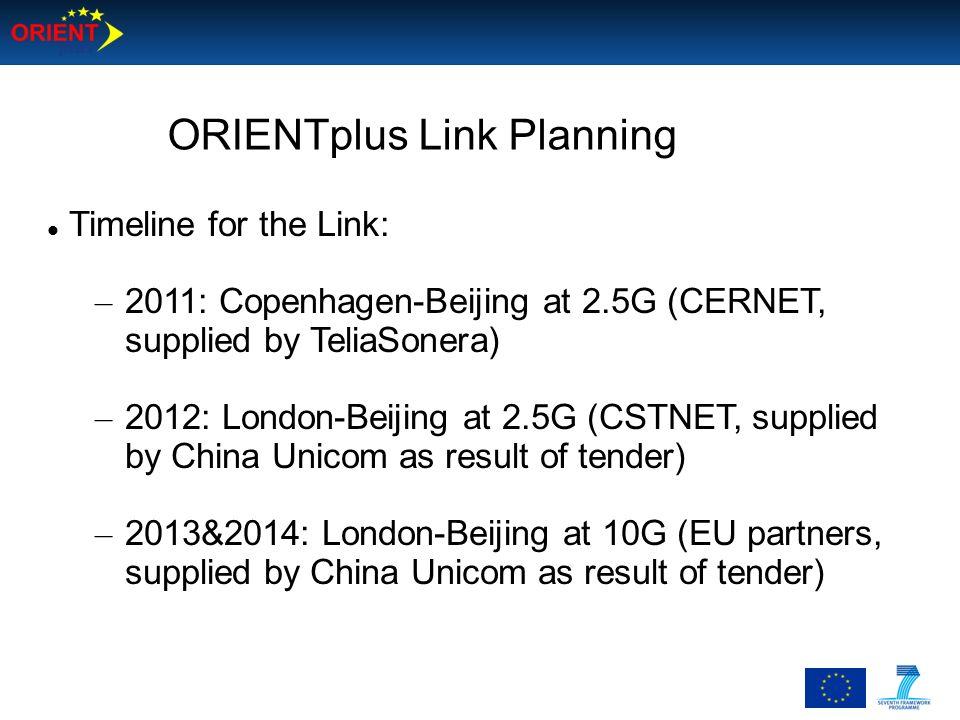ORIENTplus Link Planning Timeline for the Link: – 2011: Copenhagen-Beijing at 2.5G (CERNET, supplied by TeliaSonera) – 2012: London-Beijing at 2.5G (C