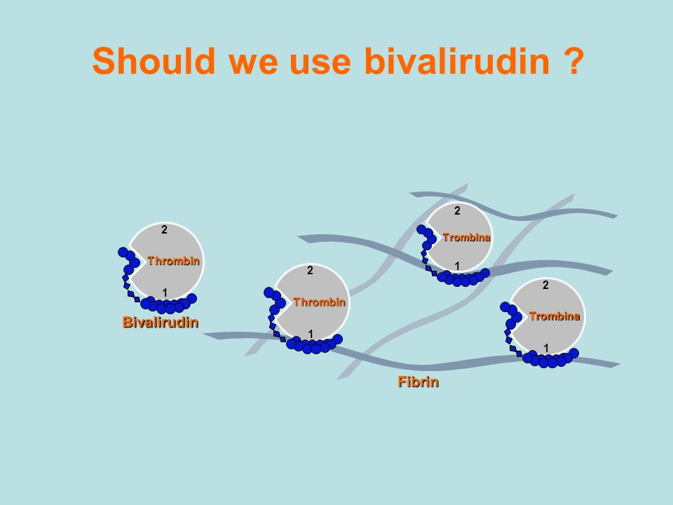 Should we use bivalirudin ? Fibrin 2 1 Thrombin 2 1 Thrombin 2 1 Trombina 2 1 Trombina Bivalirudin