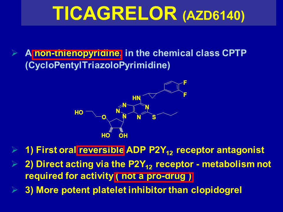 TICAGRELOR (AZD6140) A non-thienopyridine, in the chemical class CPTP (CycloPentylTriazoloPyrimidine) 1) First oral reversible ADP P2Y 12 receptor ant