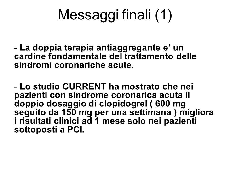 Messaggi finali (1) - La doppia terapia antiaggregante e un cardine fondamentale del trattamento delle sindromi coronariche acute.