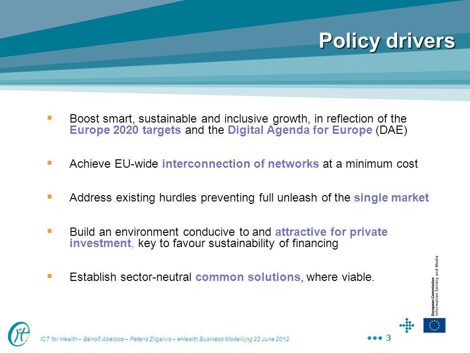 ICT for Health – Benoît Abeloos – Peteris Zilgalvis – eHealth Business Modellijng 22 June 2012 3 Policy drivers Boost smart, sustainable and inclusive