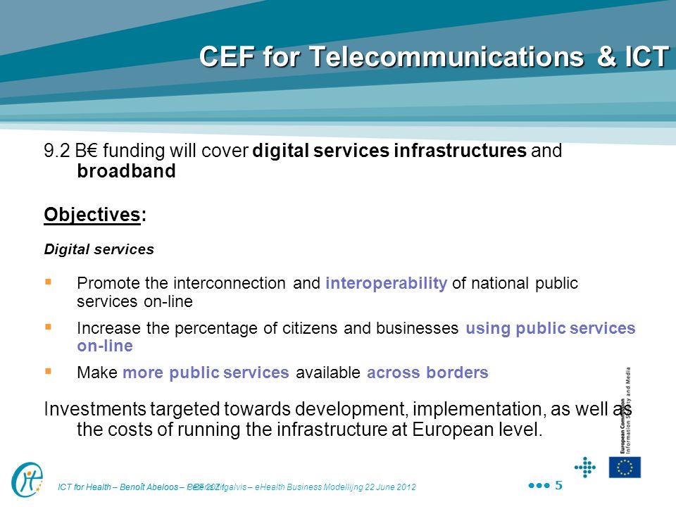 ICT for Health – Benoît Abeloos – Peteris Zilgalvis – eHealth Business Modellijng 22 June 2012 5 ICT for Health – Benoît Abeloos – CEF 2011 5 CEF for