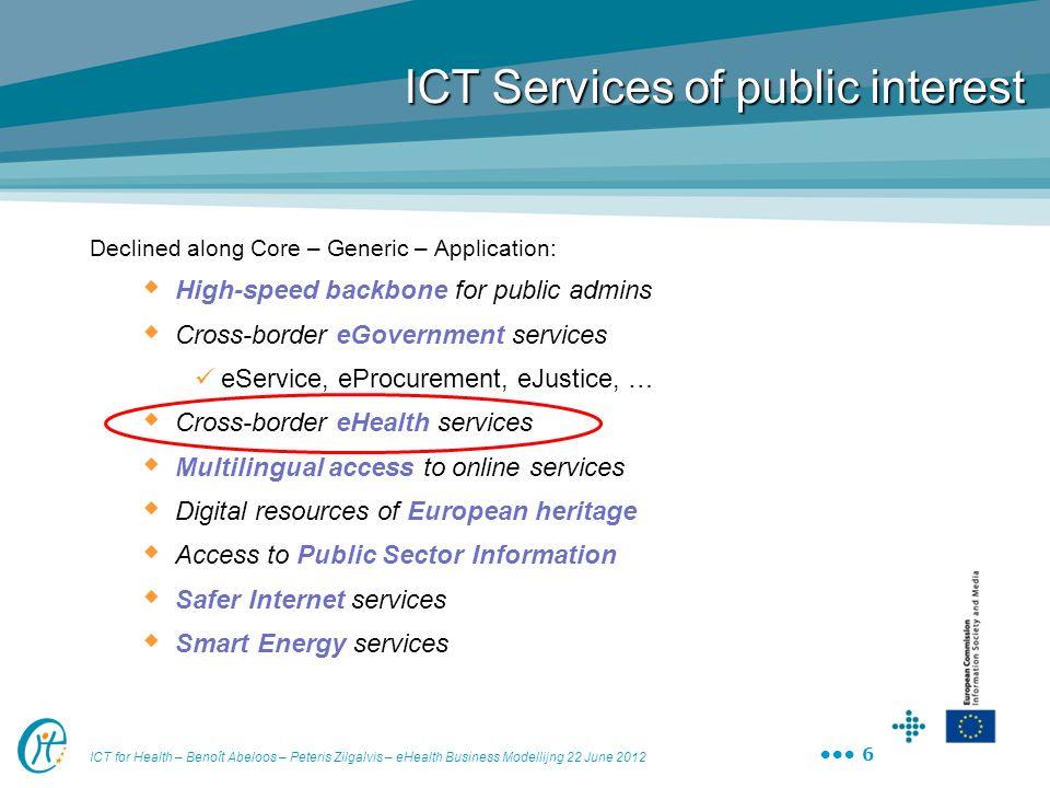 ICT for Health – Benoît Abeloos – Peteris Zilgalvis – eHealth Business Modellijng 22 June 2012 6 ICT Services of public interest Declined along Core –