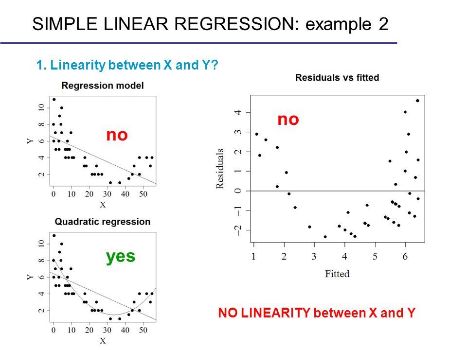 no NO LINEARITY between X and Y SIMPLE LINEAR REGRESSION: example 2 no yes 1. Linearity between X and Y?
