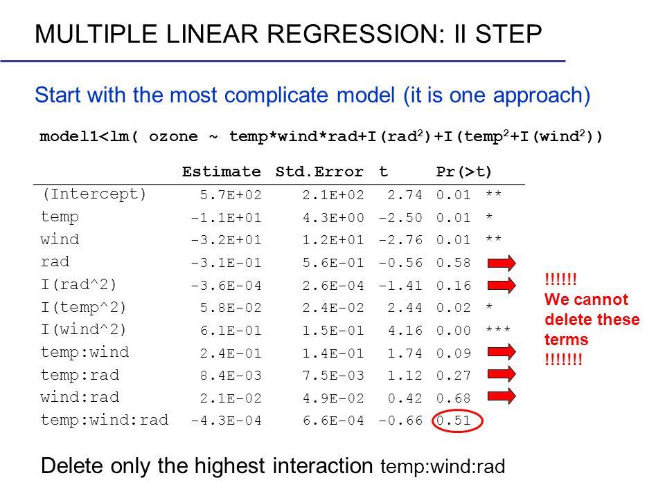 Start with the most complicate model (it is one approach) model1<lm( ozone ~ temp*wind*rad+I(rad 2 )+I(temp 2 +I(wind 2 )) EstimateStd.ErrortPr(>t) (I