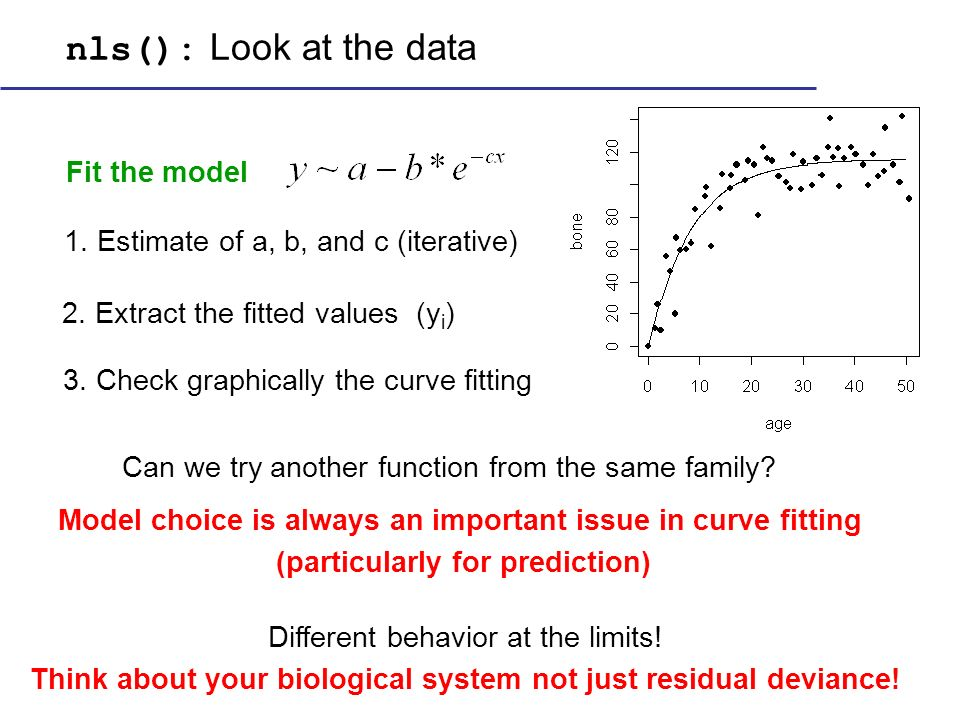 nls(): Look at the data Can we try another function from the same family? Fit the model Model choice is always an important issue in curve fitting (pa